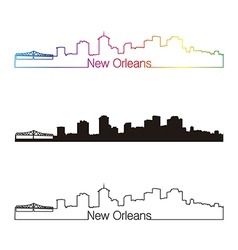 New Orleans skyline linear style with rainbow vector image