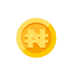 Nigerian naira currency symbol on gold coin flat vector