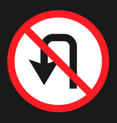 No u-turn prohibition sign flat icon vector