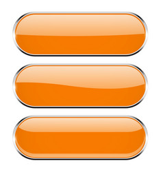 oval orange 3d buttons with chrome frame oval vector image