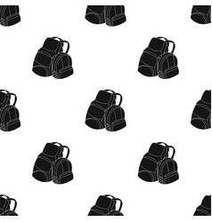 Pair of travel backpacks icon in black style vector