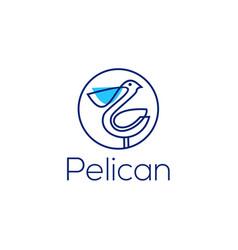pelican logo line art monoline outline vector image
