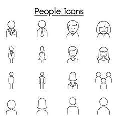 people man woman person icon set in thin line vector image