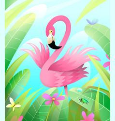 Pink flamingo in green nature cartoon for kids vector