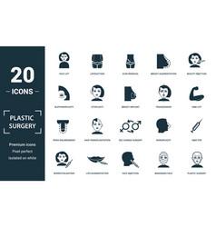 plastic surgery icon set monochrome sign vector image