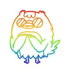 Rainbow gradient line drawing cute wise old owl vector