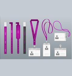 Realistic lanyard badge identity card mockup vector