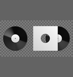 realistic vinyl record 3d long playing album vector image