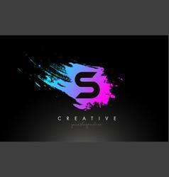 s artistic brush letter logo design in purple vector image