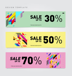 Sale and discount banner set colorful background vector