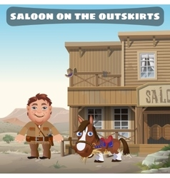 Saloon on the outskirts of town vector image