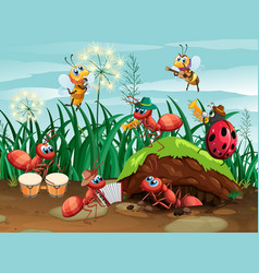 scene with plants and insects in garden vector image