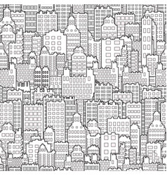Seamless background with city building monochrome vector
