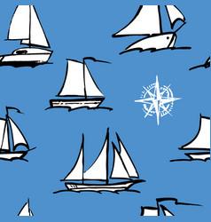 seamless pattern sailboats sketches vector image