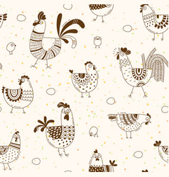 seamless pattern with chickens roosters eggs vector image