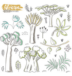 set cartoon african trees and plants vector image