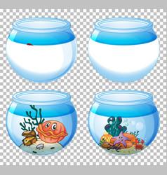 Set different aquarium tanks isolated vector