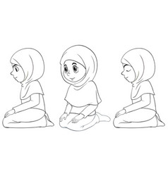 set different position arab muslim girl in vector image