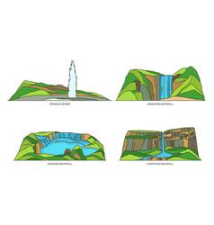 set iceland nature landmarks and waterfalls vector image