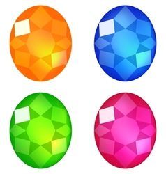 Set of colorful gems isolated on white vector image