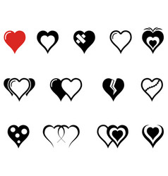 set of hearts icons with red heart vector image