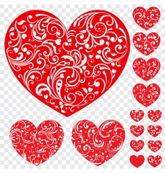 Set of red hearts with curls vector image