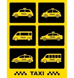 set of taxi car icon on black buttons vector image