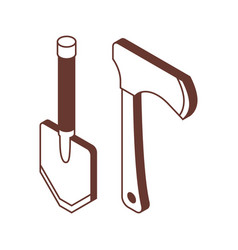 Shovel and hatchet isometric icons vector