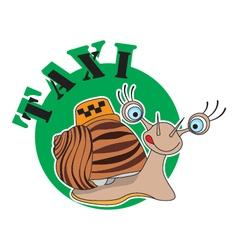 snail logo taxi vector image vector image