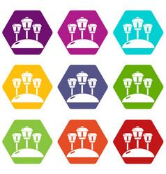 solar lamps garden light icons set 9 vector image