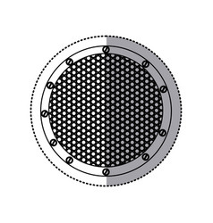 Sticker silhouette circular metallic frame with vector