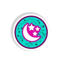 stylish icon in paper sticker style moon and stars vector image