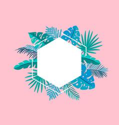 summer floral frame tropical leaves palm vector image