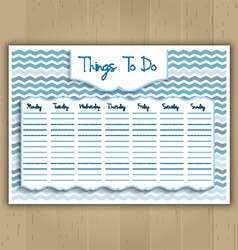 Things to do weekly planner vector