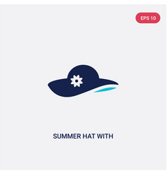 Two color summer hat with a flower icon from vector