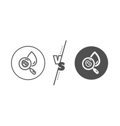 Water analysis line icon dirty aqua drop sign vector