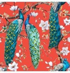 Watercolor peacock pattern vector