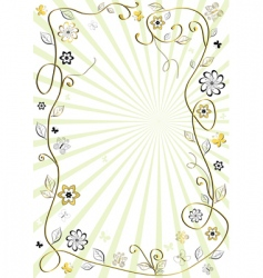 white and golden floral frame vector image