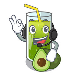 with headphone avocado smoothies in the cartoon vector image