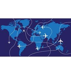 World map airplane flights vector image
