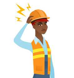 Young african builder with lightning over head vector