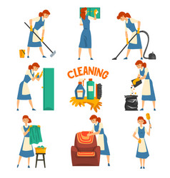 young woman cleaning and washing set cleaning vector image