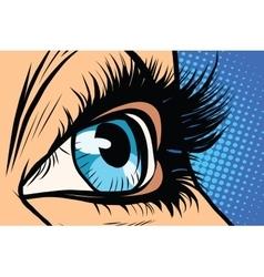 blue woman eye close-up vector image vector image