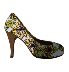 Colorful silhouette of high heel shoe with floral vector