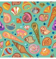 Colorful sketched kid seamless seashell pattern vector image