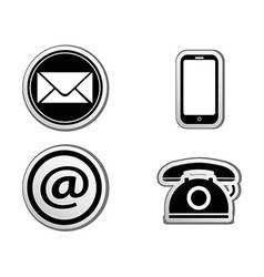 Contact icon buttons set vector image