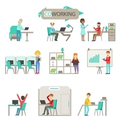 Coworking in modern open space office infographic vector