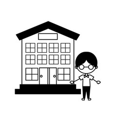 Cute boy with school building character icon vector