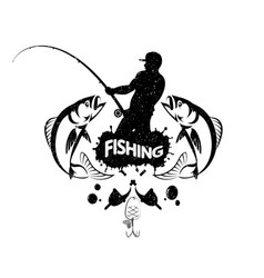 Fisherman with a fishing rod concept vector