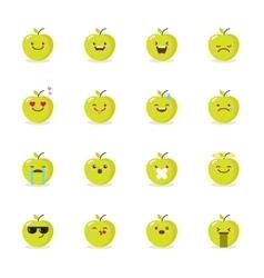 green apple emoji set Funny emoticons vector image vector image